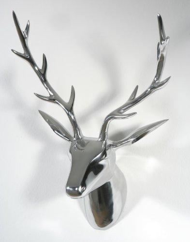 Artra Design Deko Geweih Hirschkopf 'Silber' (Größe: L) - Wandfigur, Wanddeko, Hirschgeweih, Hirschkopf, Geweih und Skulptur