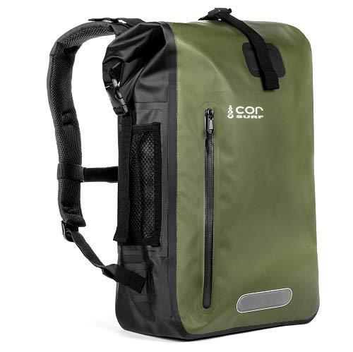 COR Surf - Dry Bag Sac imperméable sac à dos étanche 40 l avec protection pour ordinateur portable et pour garder votre équipement électronique/sec dans les éléments (Vert)