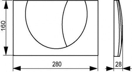 SANIT Betätigungsplatte M801 für 2-Mengenspülung chrom