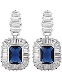 TreasureBay–Pendientes de cristal de plata de ley 925azul zirconias cúbicos