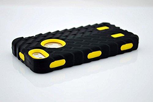 Iphone 5S Coque,Lantier Tire Conception fraîche de la série 3 en 1 Heavy-Duty Dual Layer Soft Touch Housse de protection avec boîtier intérieur dur PC pour Apple Iphone 5S Noir Tire Yellow