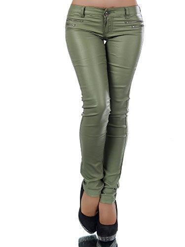 L521 Damen Jeans Hose Hüfthose Damenjeans Hüftjeans Röhrenjeans Leder-Optik, Farben:Khaki;Größen:38 (M) (Khaki-hosen)