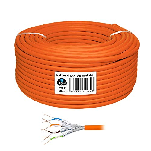 25m cat 7 - Extra Dünn - HB Digital Basic Netzwerkkabel LAN Verlegekabel Cabel Kupfer Profi S/FTP PIMF LSZH POE Halogenfrei orange RoHS-Compliant cat. 7 cat.7 cat7 (Wireless-netzwerk-adapter Cisco)