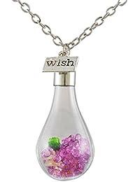 Multicolor Drift botella cubierta de cristal colgante de collar de gotas de agua Flores secas hay
