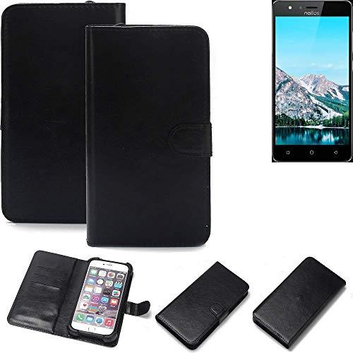 K-S-Trade Wallet Case Handyhülle für TP-LINK Neffos C5S Schutz Hülle Smartphone Flip Cover Flipstyle Tasche Schutzhülle Flipcover Slim Bumper schwarz, 1x