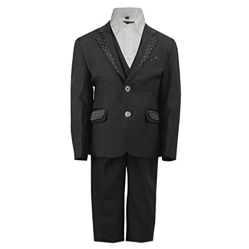 New Kids Seite Jungen 3Stück schwarz Smoking Anzug mit Weste Hochzeit Party Formale Alter 2-12Jahre Gr. 4 Jahre, schwarz (Tuxedo 4 Stück Kostüm)