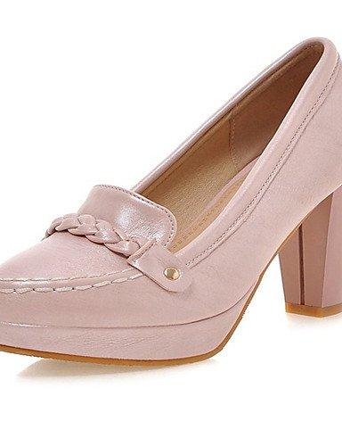 WSS 2016 Chaussures Femme-Bureau & Travail / Habillé / Décontracté-Rose / Blanc / Beige-Gros Talon-Talons-Talons-Similicuir pink-us7.5 / eu38 / uk5.5 / cn38