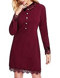 POLP Vestidos Cortos Wine ◉ω◉Sexy Vestidos Mujer Elegantes Tallas Grandes Vestidos,Vestidos