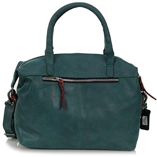 Rofu sac à main dames - sac à bandoulière en cuir souple vintage (33 x 21 x 14 cm) Petrol