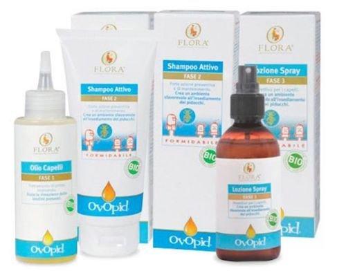 Flora - trattamento completo ovopid contro i pidocchi: spray, shampoo e olio (fase 1,2 e 3)