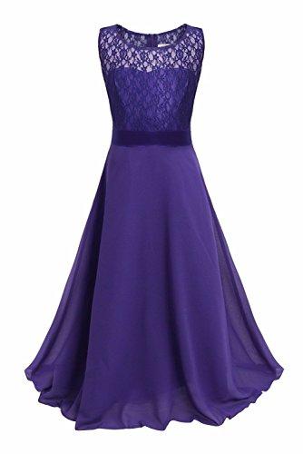 YiZYiF Festliches Mädchenkleid Lange Brautjungfern Kleider Hochzeit Chiffon Gr. 104 116 128 134 140 146 152 164 Dunkel Lila 164 -