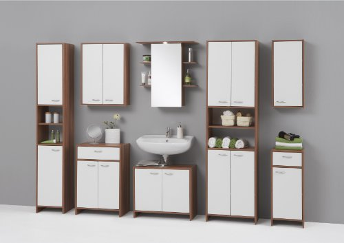 MADRID Premium Tall Double Wide Bathroom Cupboard / Tallboy Unit in White and Plum Tree Finish by DMF