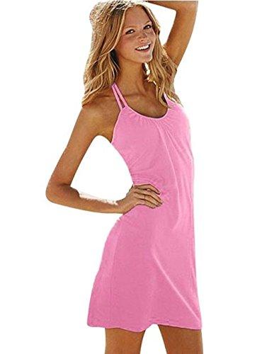 Ecollection® Damen tiefe V-Auschnitt Baumwolle Strandkleid sommerkleid Pink
