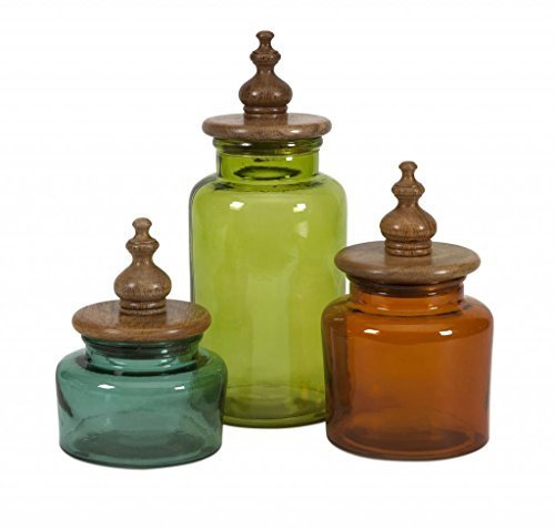 Decoratively Stylish Saburo Glass And Wood Lid Canisters - Set Of 3 Home Containers-glass Décor By Imxworld