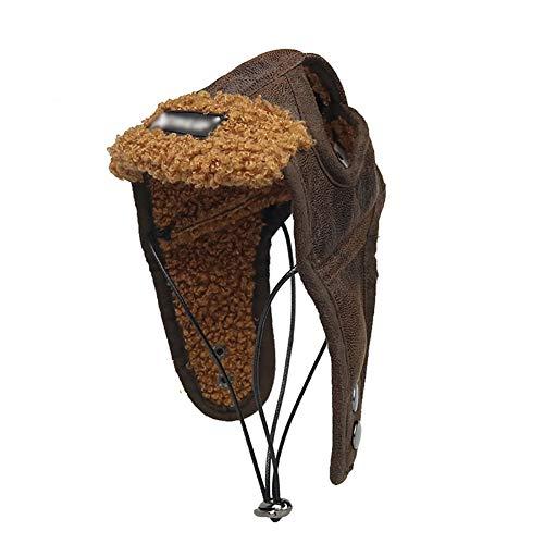 YaptheS 1Pack Hund Fliegermütze Hundewinter-Pilot Hut mit Ohrenklappen Haustier-Partei-Kostüm-Zusatz Pu-Warmer Hut für kleine und mittlere Hunde (Kaffee, L) - Die Für Partei Dekore Material