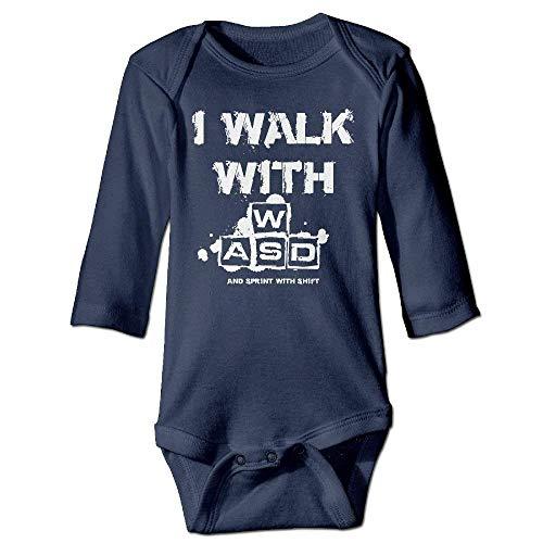 VTXWL Unisex Infant Bodysuits I Walk with WASD Boys Babysuit Long Sleeve Jumpsuit Sunsuit Outfit Navy