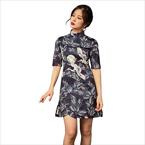 JIE. Chinesischer Stil Verbesserte Retro Schlanke Alte Shanghai Cheongsam Sleeves Slim Dress 018 ()