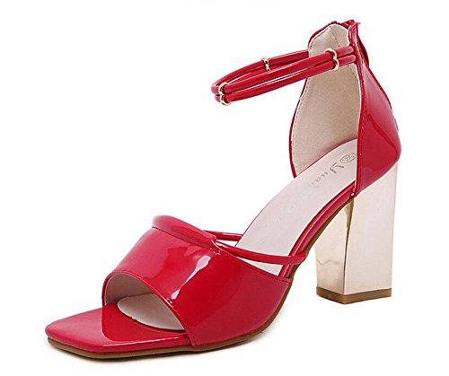 GLTER Cinturino di donne pompe estate nuovi sandali di spessore con cavo di metallo con tacco alto Quadrato Testa Scarpe Tacchi Open-Toe Court Shoes Rosa Rosso Nero Red