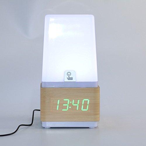 Kreative Tischuhr Nachttischuhr mit Schreibtischlampe Holzuhr Touch-Beleuchtung Sound-Control-Beleuchtung