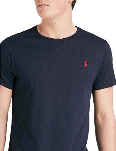 best service c1483 a152f Ralph Lauren Camiseta de Manga Corta con Cuello Redondo para Hombre Ajuste  Personalizado (S, Azul Marino)