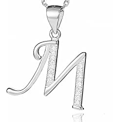 Morella Collier femme pendentif avec lettre M argent 925 rhodié avec zircons blancs 45 cm
