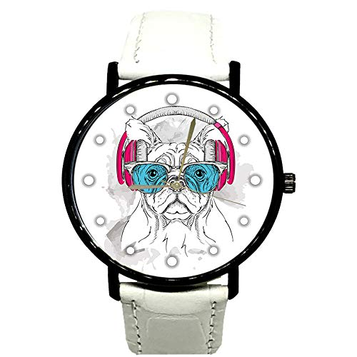 EREMITI JEWELS Armbanduhr Bulldog mit Kopfhörer und Sonnenbrille, Geschenkidee für Damen und Herren, Unisex Quartz Bianco