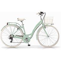 Vélo MBM Primavera pour femmes, cadre en aluminium, 6 vitesses, panier inclus, deux tailles et six couleurs disponibles