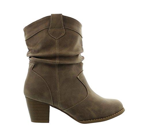 King Of Shoes Damen Stiefeletten Cowboy Western Stiefel Boots Schlupfstiefel Schuhe 37 (38, Khaki)