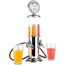 oneConcept Hazzlehov Duett Bar Butler surtidor dispensador de bebidas (2x 450ml, válvulas de 2Zapf, Reservorio columnas de imitación) Plata