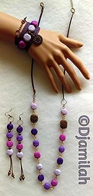 Parure (collier + boucles d'oreille + bracelet), perles en argile polymère tons violets