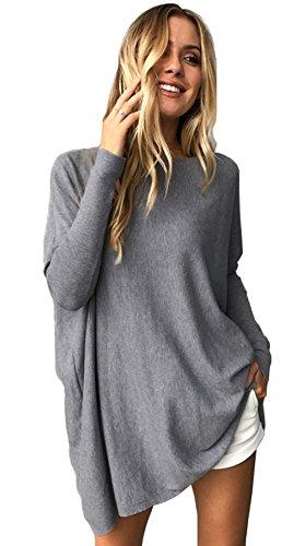Longwu donna maglietta felpa con cappuccio con manica a maniche da pipistrello grigio-l