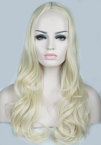 S-noilite wellige Kunsthaar schwarz blond halb Perücke ca.70cm (Perücke Blonde Halbe)