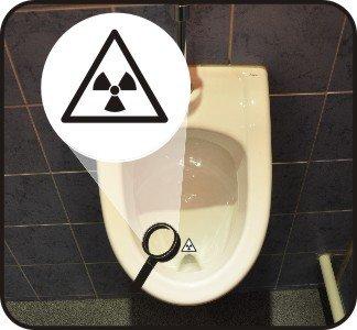 5-er Set - Pissoir-Zielhilfe, Urinal-Zielhilfe, Zielhilfe für Pinkelbecken - Radioaktiv