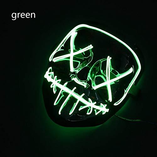WSJMIANJU Halloween-Maske Halloween-Maske LED-Maske Leuchtende Party-Masken Neon Maska Cosplay-Wimperntusche Horror-Wimperntuschen Glow In Dark Masque V für VendettaGreen -