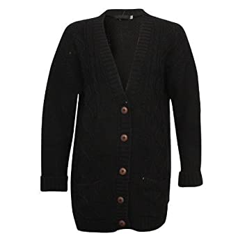 Women's Long Sleeve Button Chunky Cable Knit Cardigan: Amazon.co ...