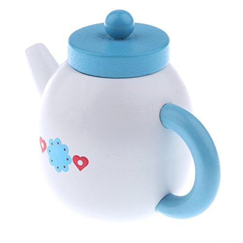Fenteer Kinder Küche Rollenspielzeug - Blaue Teekanne aus Holz - Kinder Pädagogisches Spielzeug