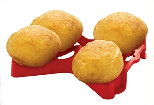 Red Microwave Cookware Baked Potato Holder Tray