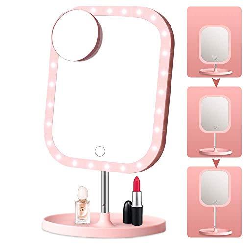 MQQ LED Kosmetikspiegel mit versenkbarem Standfuß Touchscreen mit 1X / 10X Vergrößerung Doppelseitiger Kosmetikspiegel mit 360 ° -Drehung auf der Tischplatte Wiederaufladbarer beleuchteter Kosmetikspi -