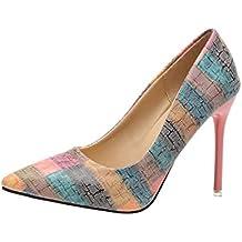 Zapatos Mujer,Moda de la Mujer Tacones Delgados Zapatos Salvajes Mixtos Colores Bajos Zapatos de