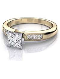8b1707d86 RM Jewellers 92.5 Sterling Silver American Diamond Brilliant Engagement Ring  for Women