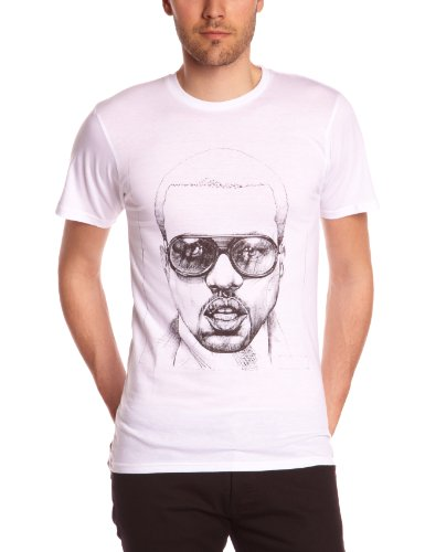 Eleven Paris Herren T-Shirt KANE M MEN, V-Ausschnitt Weiß (M99 White)