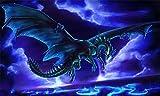WYTTT Puzzle 1000 Pezzi Animali Puzzle per Adulti Puzzle di Legno 3D Puzzle Classico Drago Volante Blu sotto Le Nuvole Scure DIY Arte Moderna Speciale Regalo Home Decor,75X50Cm