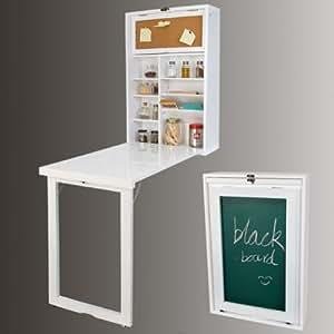 Wandschrank, Memoboard und einer Tafel auf der Rückwand, Wandklapptisch mit integriertem Regal, Küchentisch FWT08 (weiß)