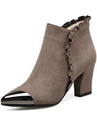 DYF Chaussures Bottes Central Grande Fermeture éclair taille forte haut talon rugueux,or,37
