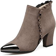 DYF Zapatos botas cortas cilindro central hechizo flor color Scrub talón áspero