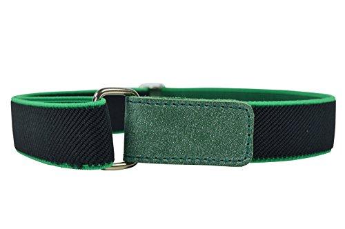 Kinder 1-6 Jahre Elastischer Gürtel, voll einstellbar mit Klettband - Schwarz / Grün