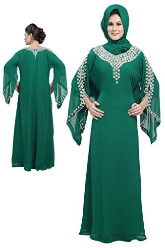 Maxim creación de la Mujer Royal caftán Fancy Thobe Verde Verde Medium