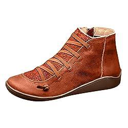Damen Stiefeletten Flache Gewölbte Unterstützung Lässige Stiefel Niedriger Absatz Kunstleder Elastische Seitlicher Reißverschluss Herbst Schuhe(Braun,40 EU)