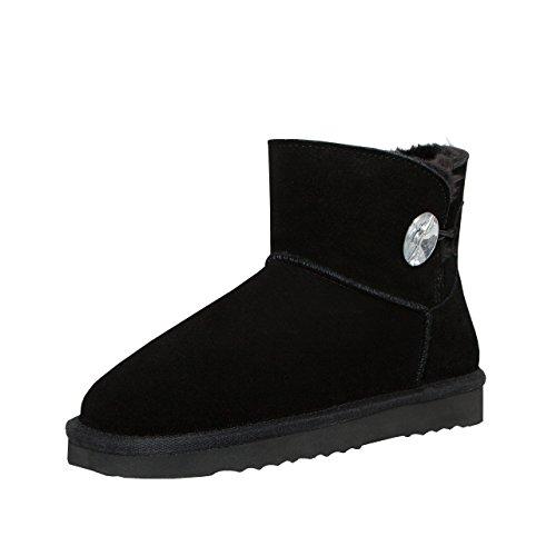 SKUTARI Wildleder Damen Winter Boots | Warm Gefüttert | Schlupf-Stiefel mit Stabile Sohle | Bling Diamant Pailletten Knopf Schuhe (38, Schwarz/5035)