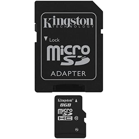 Kingston SDC10/8GB - Tarjeta microSD de 8 GB (clase 10, UHS-I, adaptador SD), negro